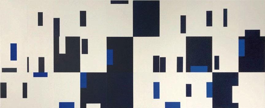 """Francine Savard,   Marthe Wéry, Peinture Montréal 84. Répertoire des pages de gauche et Répertoire des pages de droite , 2019, Acrylic on canvas mounted on wood box, 33"""" x 82 ½"""""""