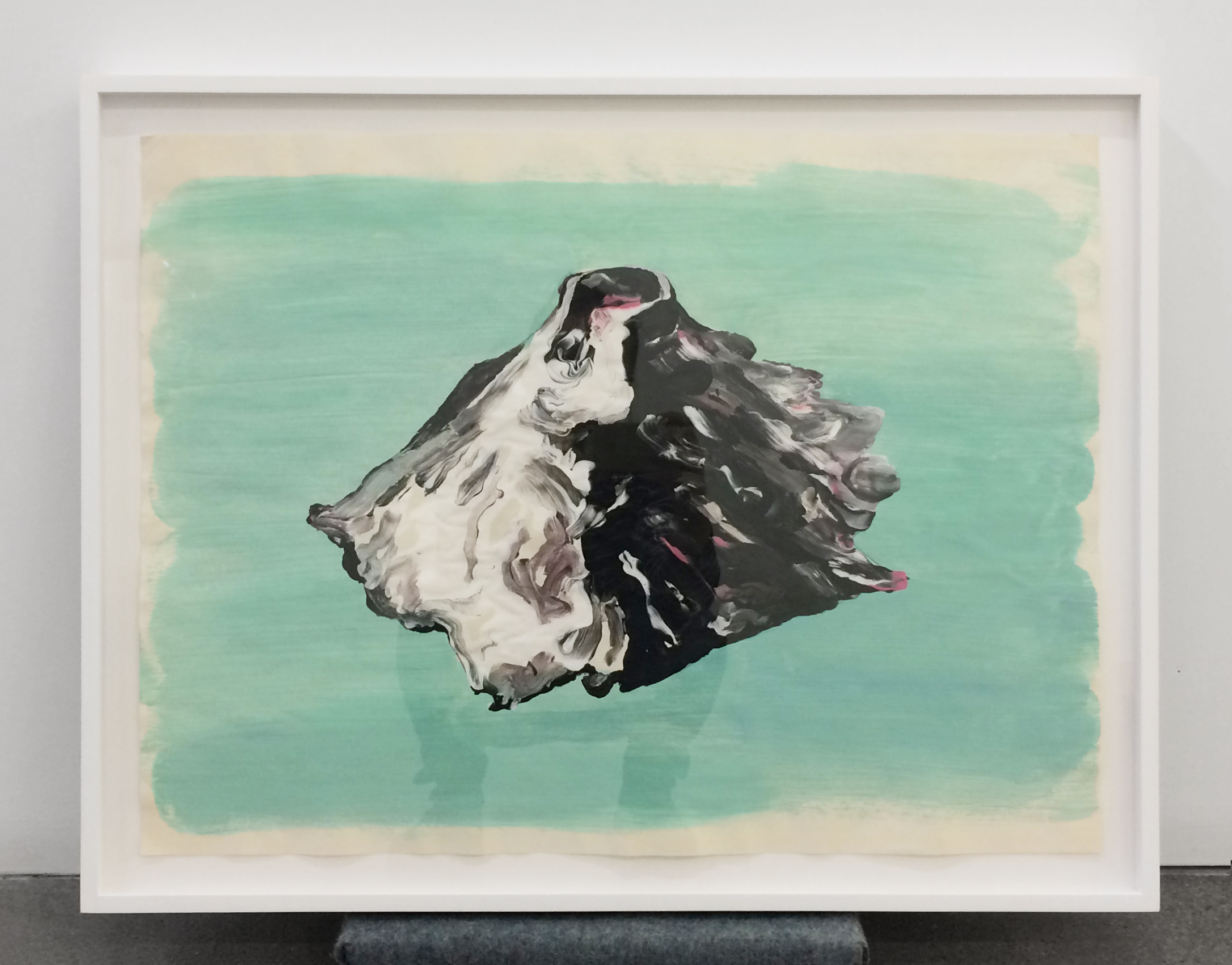 "Green Paper Volcano , 2016, Tempera on paper, 18"" x 23"""