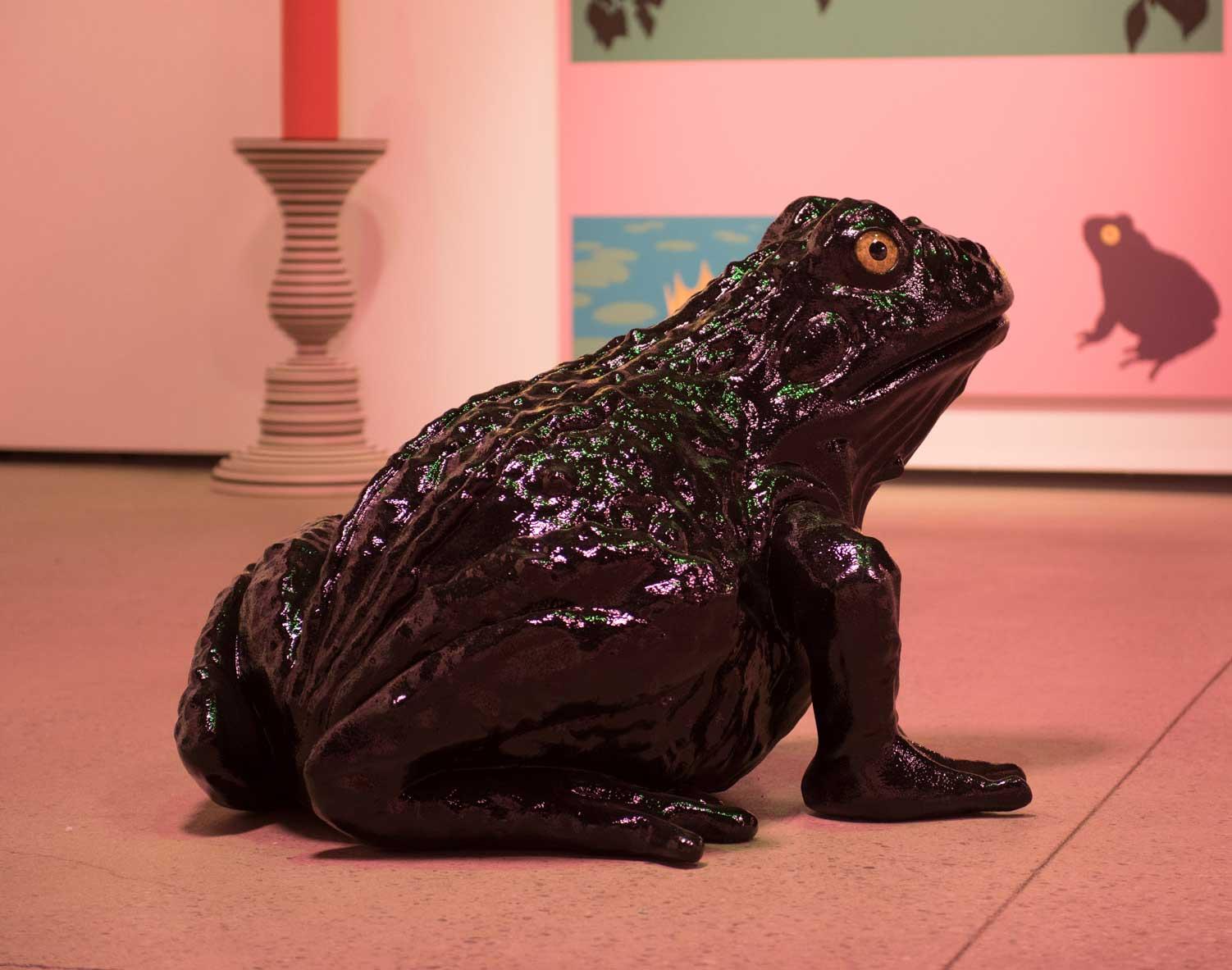 "Knight in Shining Armor , 2018, High density foam, hard-coat epoxy, automobile enamel, cast acrylic -hand painted taxidermy eyes, and lipstick, 30""  x 36"" x 48"""