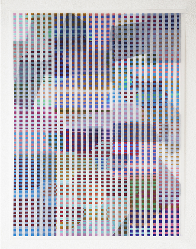 """Grands Ensembles #1 , 2017-18, Wax and pigment pencil on drafting film, 24"""" x 18"""""""