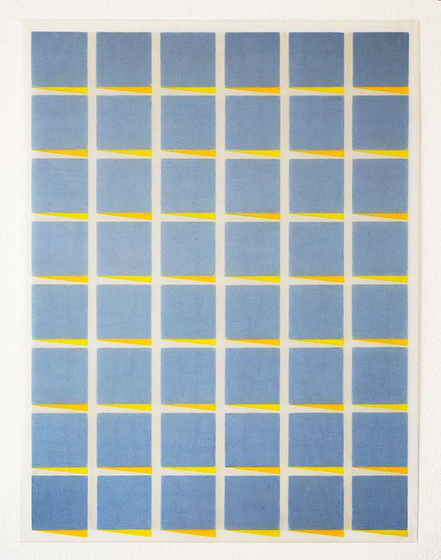 "Hansaviertel #2 , 2017-18, Wax and pigment pencil on drafting film, 24"" x 18"""