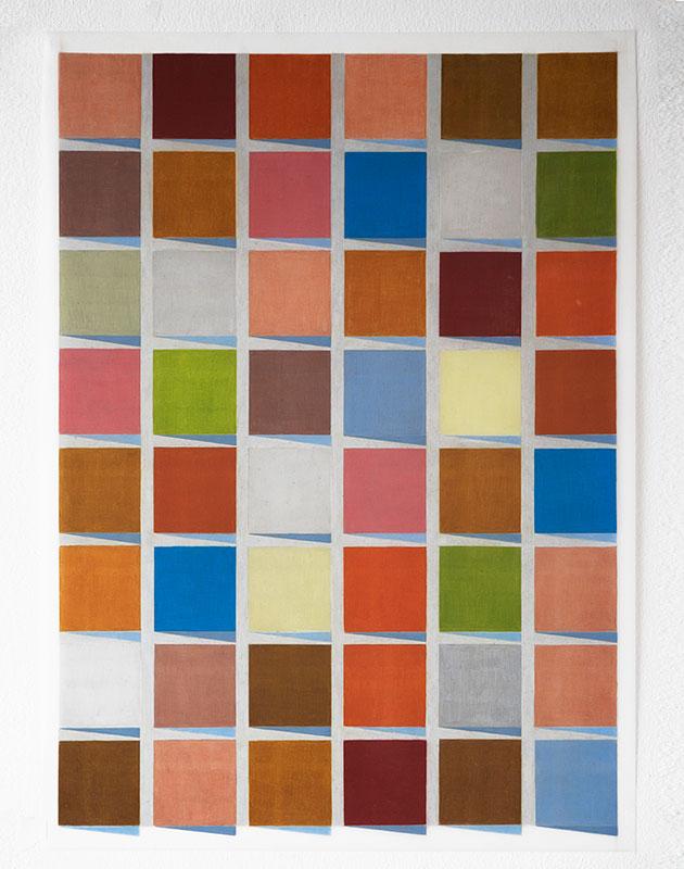 "Hansaviertel #3 , 2017-18, Wax and pigment pencil on drafting film, 24"" x 18"""
