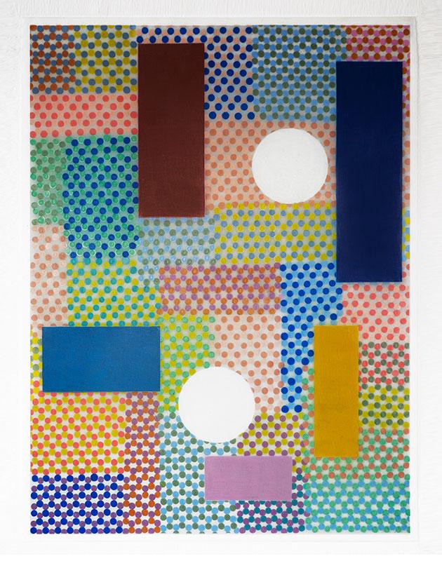 "Ximen , 2017-18, Wax and pigment pencil on drafting film, 24"" x 18"""