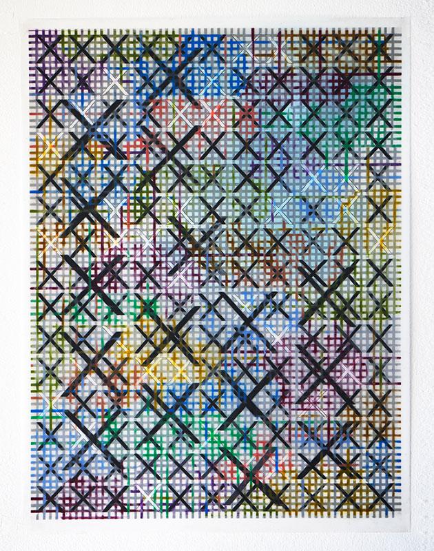 "XX , 2017-18, Wax and pigment pencil on drafting film, 24"" x 18"""