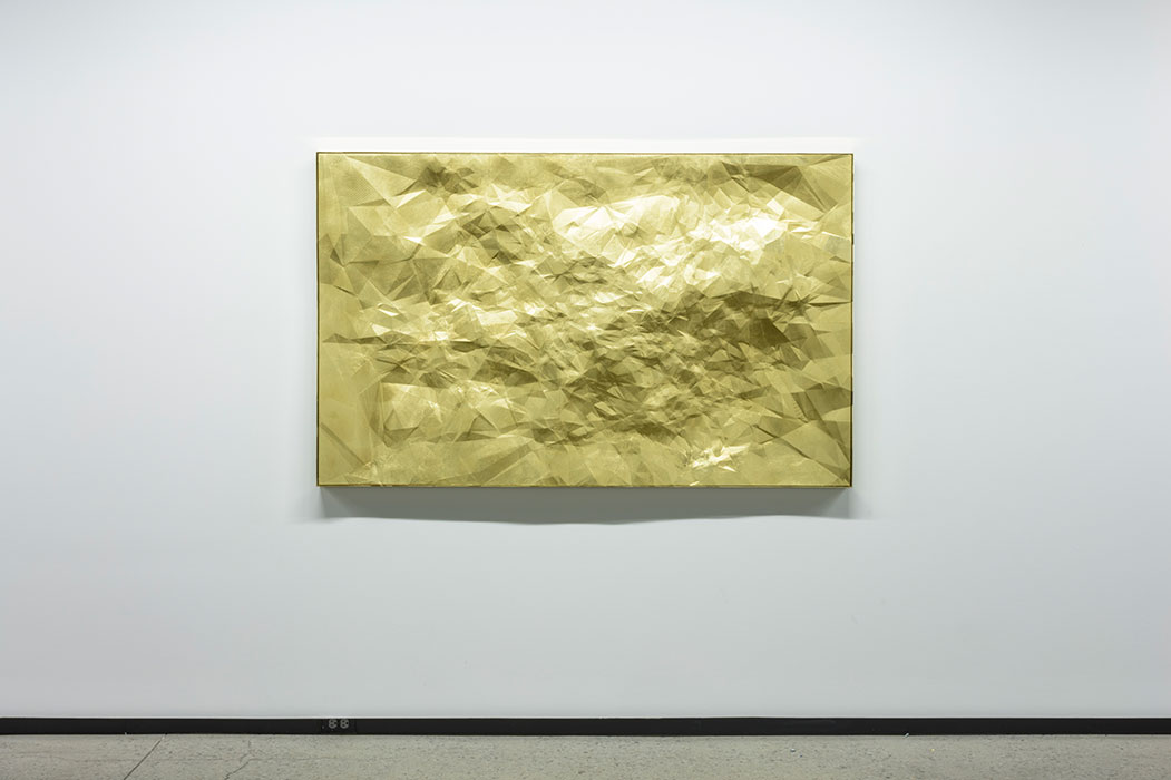 "Constellations Or 15 Lyn , 2017, Polylactic acid, golden paint, 42"" x 68"""
