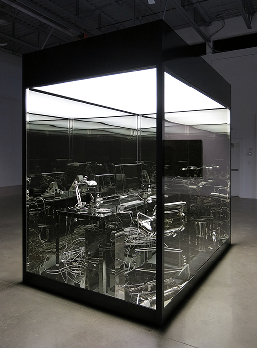 Vanitas (Bureau d'artiste) , 2012, Aluminum, nickel, tempered glass, fluorescents, vinyl, 305 x 305 x 183 cm
