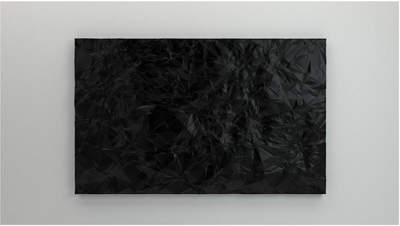 """Constellations (noire) , 2016, Polylactic acid, acrylic paint, graphite, carbon black, 51 ⅛"""" x 81 ⅞"""""""