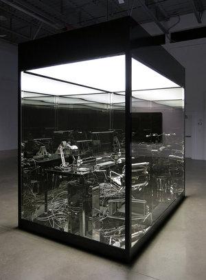 Vanitas (Artist office) , 2012, Steel, aluminium, nickel, tempered glass, fluorescent, vinyl, 305 x 305 x 183 cm