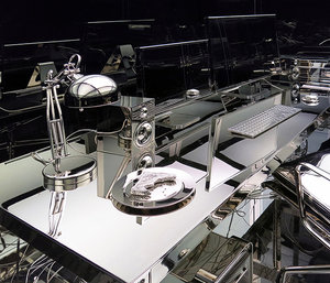 Vanitas (Artist office) , 2012, Steel, aluminium, nickel, tempered glass, fluorescent, vinyl, 305 x 305 x 183 cm (Detail)