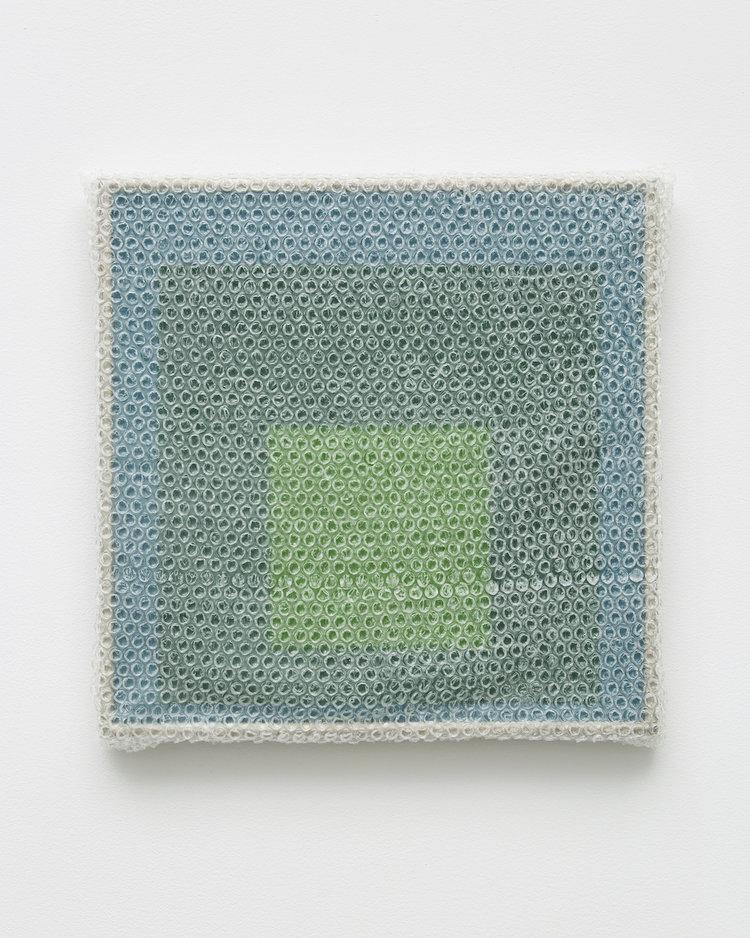 "Albers Study #6 , 2018, Acrylic on masonite with metal frame, 16"" x 16"""