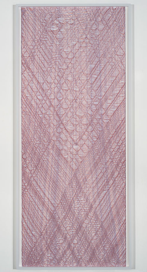 "Flottés 4 , 2015, Cotton, polyester and rayon, 89 ¼"" x 39"""