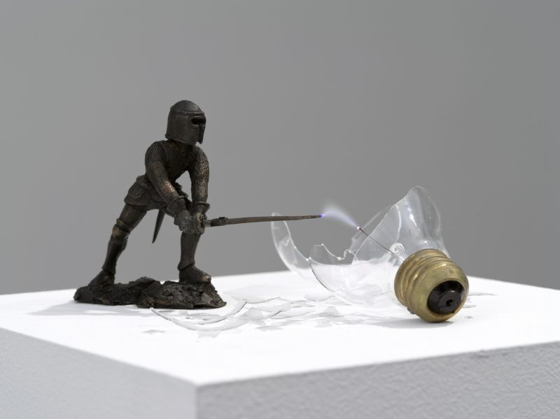 Overpower , 2013, Cast bronze, broken light bulb, 10 000 volts, ignition coil, Variable dimensions