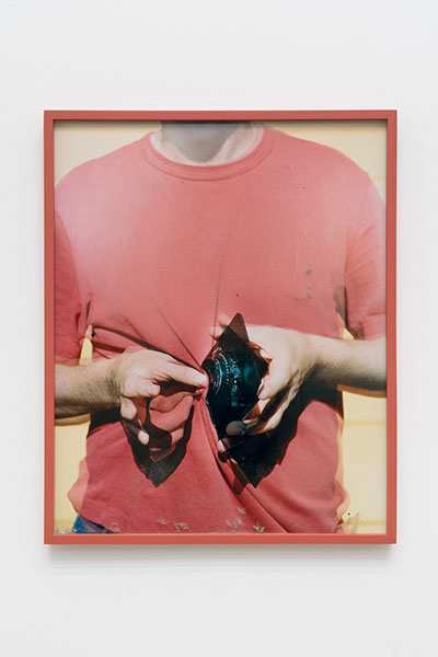 "Lens Cleaning Rodenstock Apo-Sironar 56/135mm, James Perse Sun Stone Crewneck Jersey T-shirt , 2017, Variation of 4, Chromogenic print and studio dust displayed in frame, 25"" x 20"""