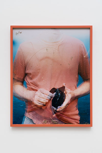 "Lens Cleaning Schneider Apo-Symmar 56/180mm, James Perse Adobe Crewneck Jersey T-Shirt , 2016, Variation of 4, Chromogenic print and studio dust displayed in frame, 25"" x 20"""
