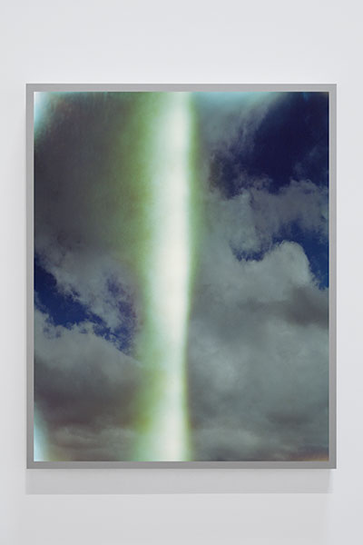 "Untitled #4 (Sky Leaks),  2016, Edition of 4, Transmounted chromogenic print displayed in LED Lightbox, 50"" x 40"""