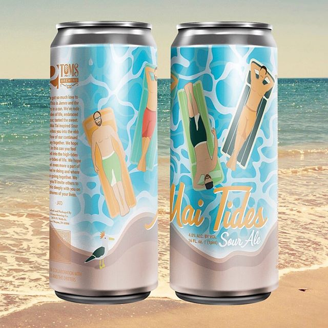 """We teamed up with @2tomsbrewingcompany to create our very own beer! """"Mai Tides"""" is a tropical sour ale inspired by a Mai Tai cocktail 🍹 • • We'll be releasing it this Saturday as well as performing at the brewery. Check the link in our bio for details. 🌺🎨: @ladysnodgrass"""