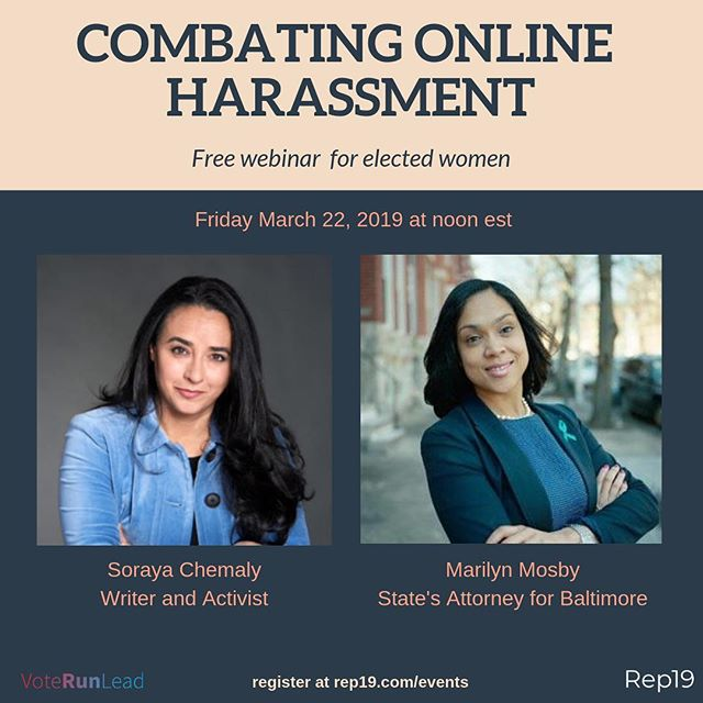 Excited to announce that State's Attorney for Baltimore @marilynmosbyesq will be joining writer and activist @sorayachemaly for Friday's webinar on how to combat online harassment. This event is open to women elected officials only. There's still time to sign up! Join at Rep19.com/events (link in bio) #womenlead #womeninpolitics #baltimore #rep19