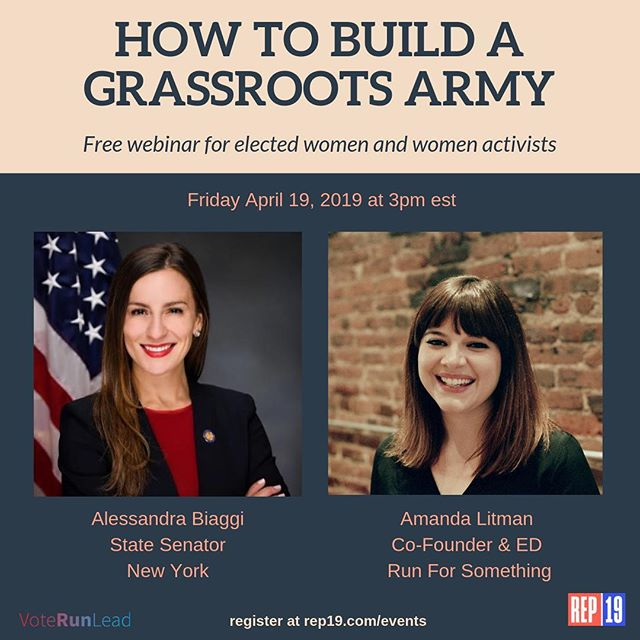 We have a fabulous new addition to our webinar series on Friday - @senatorbiaggi! We're thrilled to have her and @runforsomethingnow cofounder Amanda Litman share how they've built grassroots armies. There is still time to sign up. Join us! (Link in bio) #womenlead #womeninpolitics #democracy #politics #ladieslead