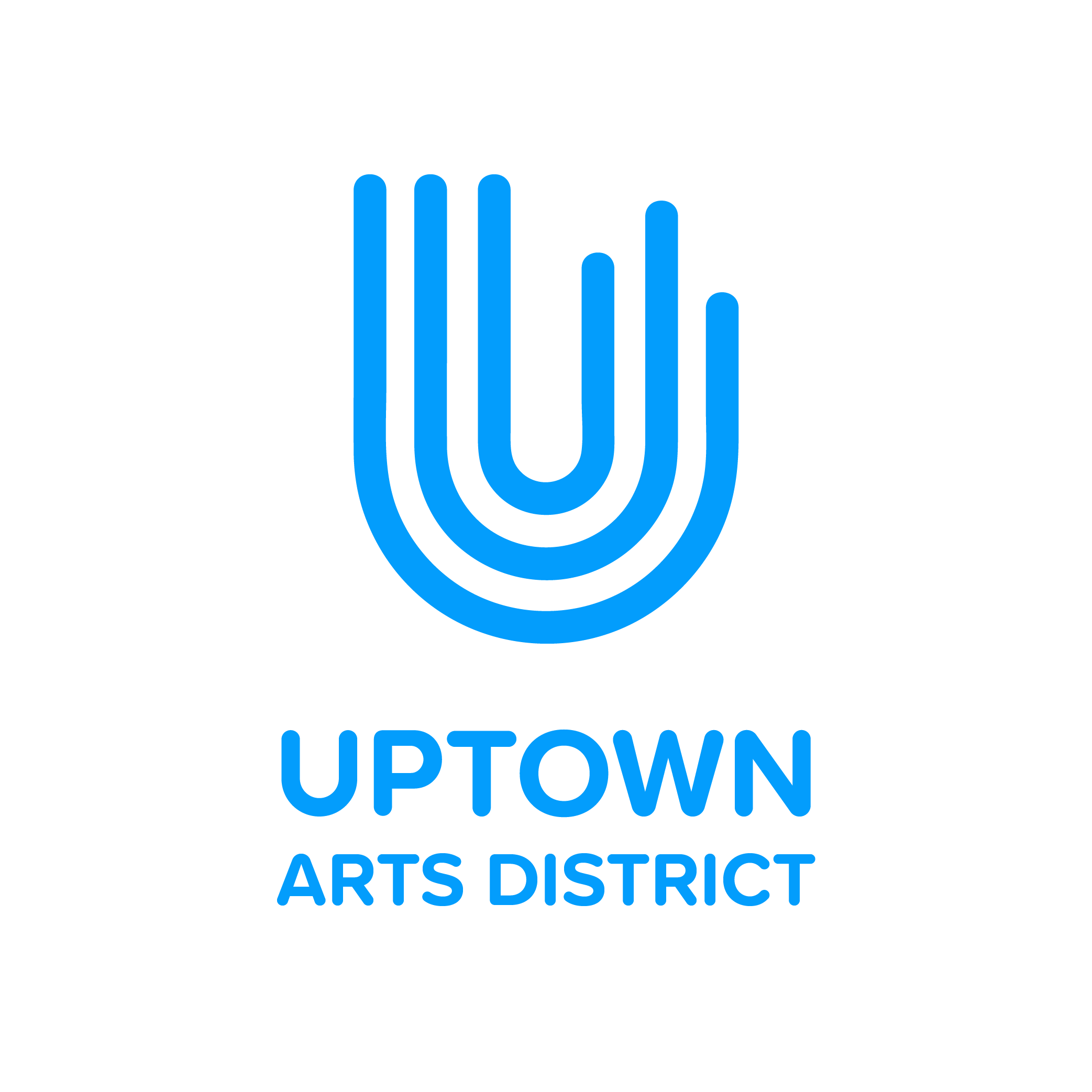 Logo statement - Uptown is vibrant, creative, and inclusive. This logo is inspired by a brush stroke and music tabs. Each line represents creativity, community, humanity and how all these elements work together in harmony. This logo is paired with a custom typeface fit for Uptown.