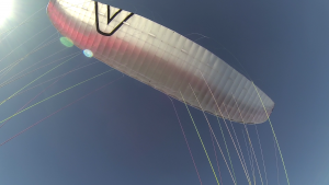 My wing - basically a bed sheet with strings.