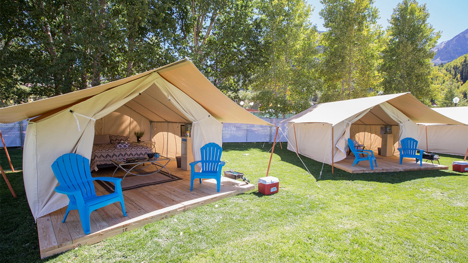 <p><strong>Glamping</strong> Stay in a luxury wall tent located in a prime camping location. <a href= /camping/#glamping >More →</a></p>