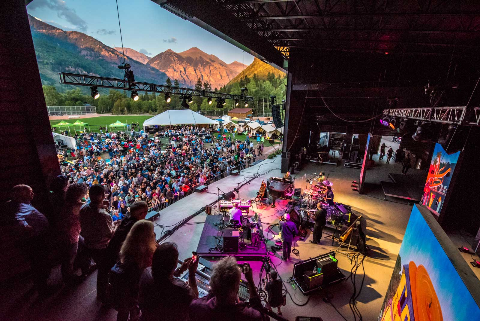 Sky Deck - Watch your favorite performance from a on-stage viewing platform of the Main Stage offering the most intimate festival experience possible. (pictured here from the Telluride Jazz Festival)