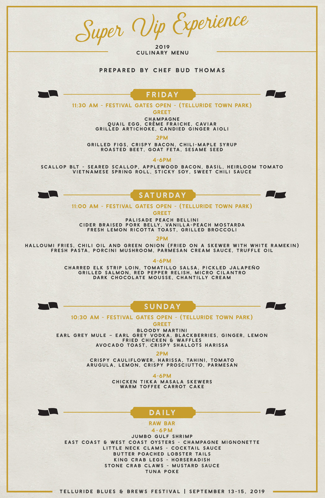 Telluride Blues & Brews Festival | Super VIP Show Cooking Menu