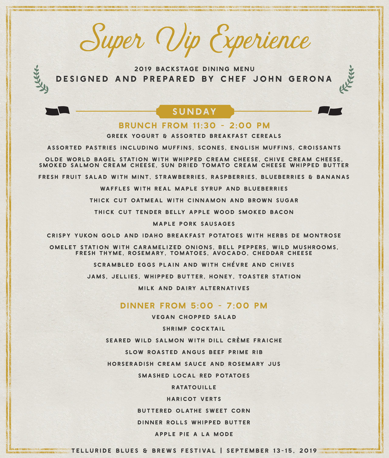 Telluride Blues & Brews Festival | Backstage Dining Sunday