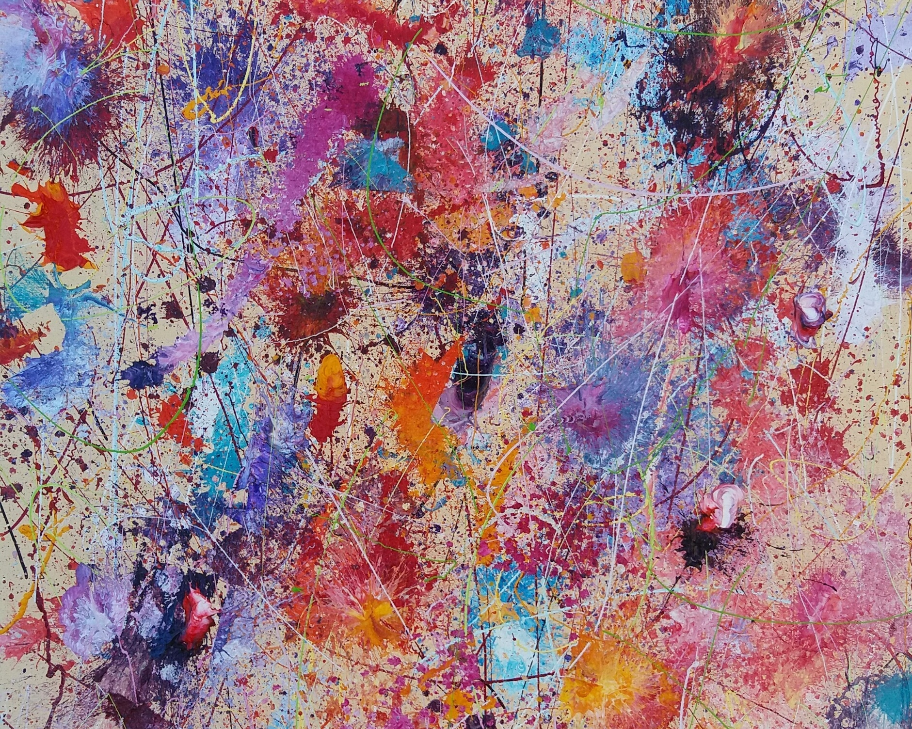 A Spontaneous Explosion of Abstract Expressionism Mixed with Experimental subconscious creation. -