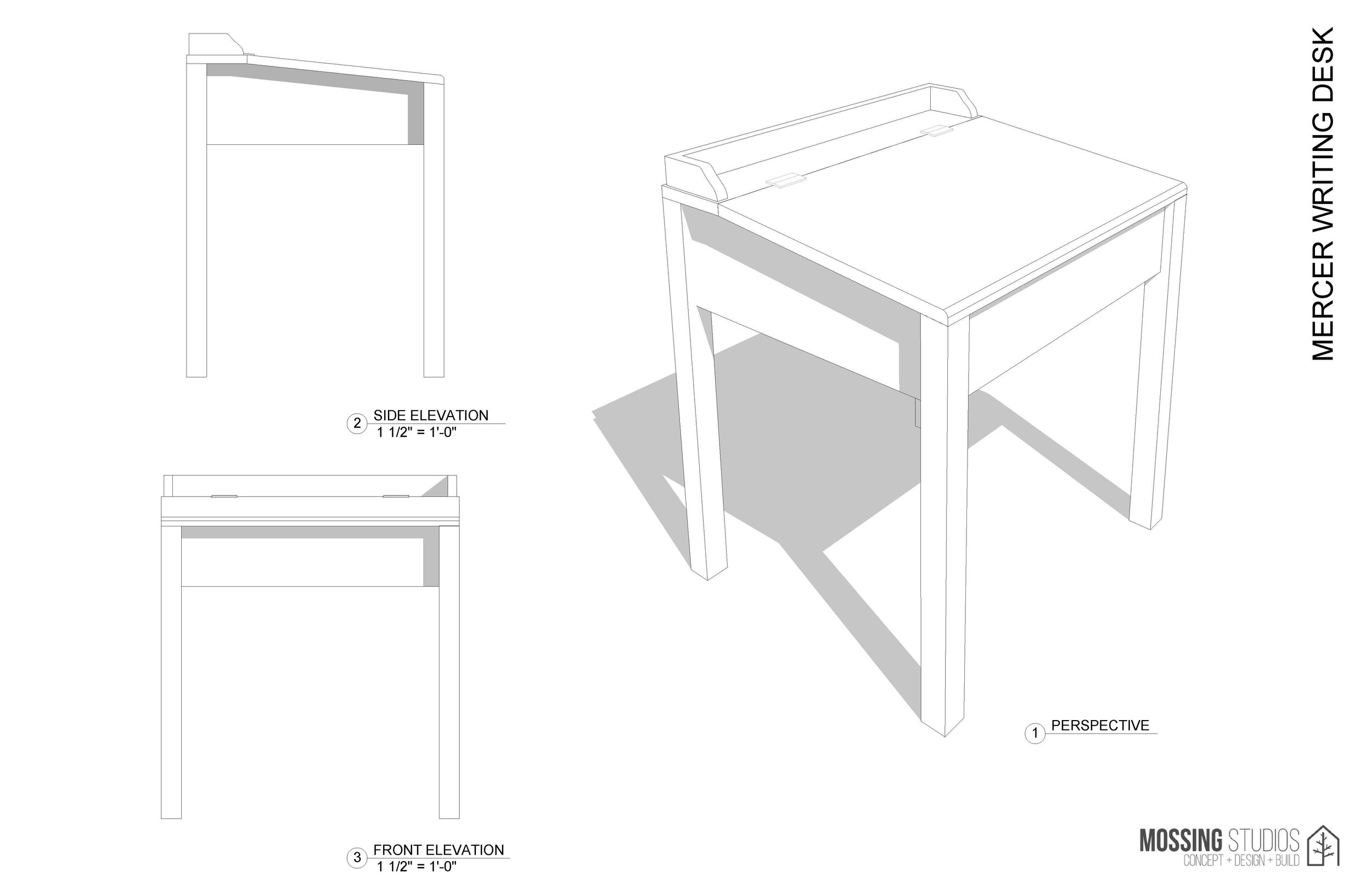 Plans for a writing desk inspired by the legacy of Johnny Mercer. Collaboration between  Mossing Studios  and  Savannah Technical College .