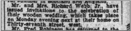 A newspaper article announcing Richard and Margaret's wooden wedding anniversary celebration, which was held at their residence, the Webb House.