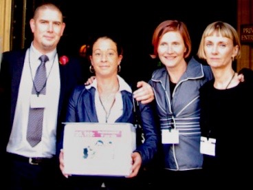 Matt and Martina Brincat Baines, with Shauneen and Fiona, delivering 'Kesia's law' petition to the House of Lords