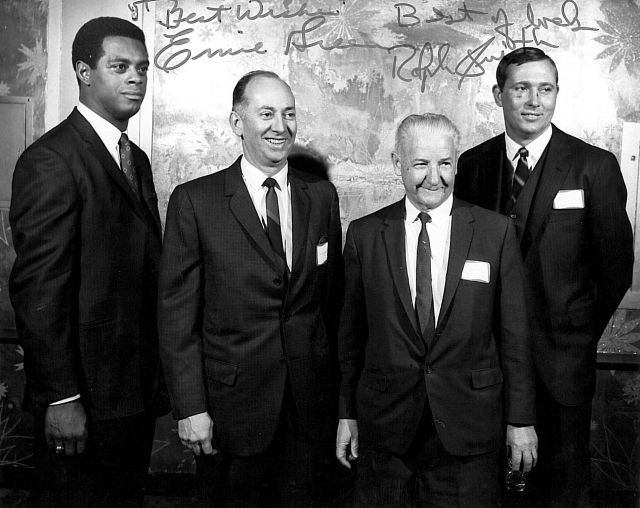 Left to Right: Ernie Green, Jim Stryffeler (Red Seal), mystery man and Ralph Smith