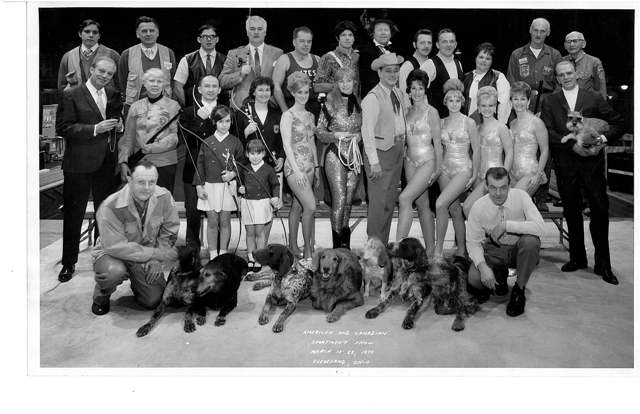 Sam at the 1970 Sportsman Show (top right corner).