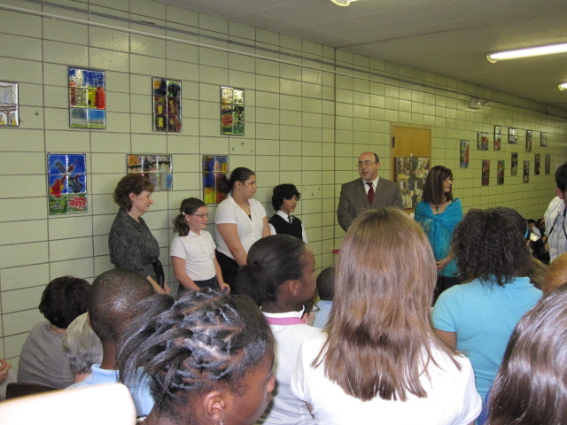 Left to right: Judy Stryffeler – Red Seal H/R Manager, students representing 4th, 5th and 6th graders, Ward 19 Cleveland Councilman Martin Keane and Sheree Ferrato.