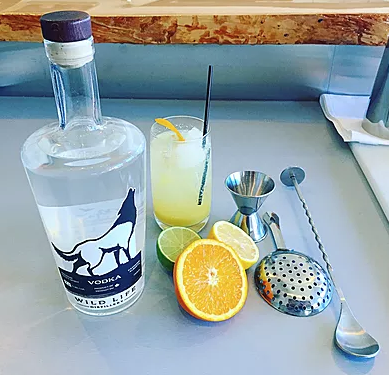 """""""The Big Tasty"""" cocktail - made with fresh, cold pressed organic orange, lemon and lime juice from Toniq Juice Bar in downtown Canmore."""