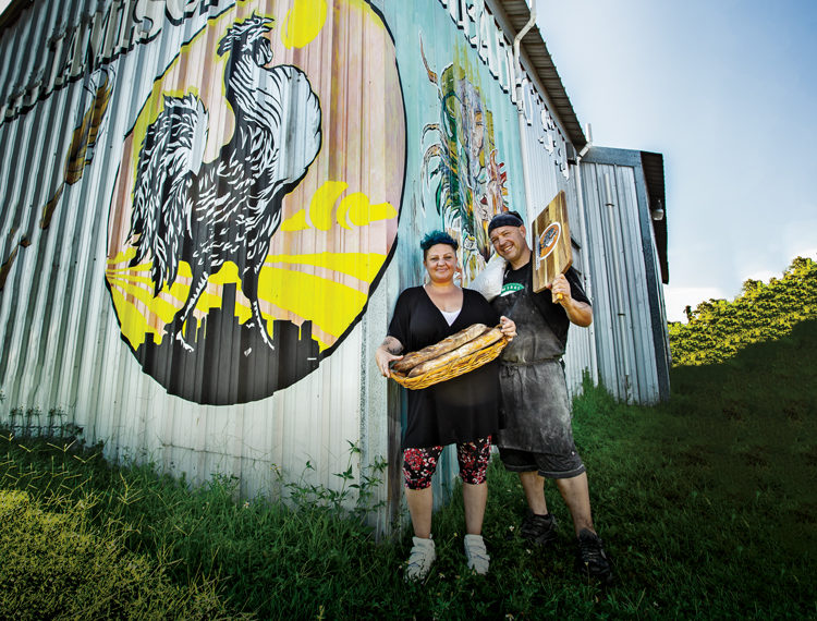 Blue and Jason Laukhuf outside their production facility in Ybor City | Photo Credit: Tampa Magazine