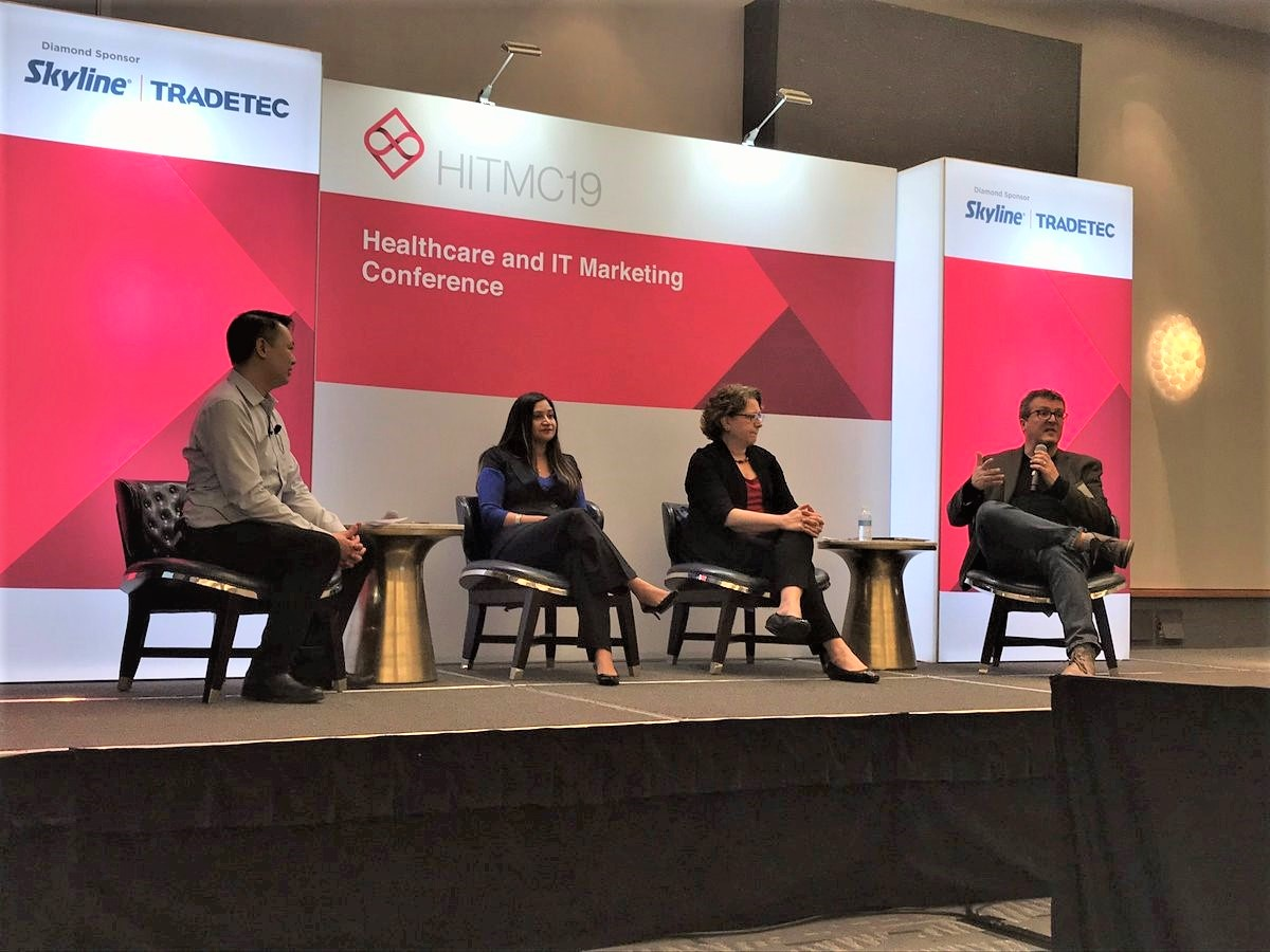 Health IT Customer Panel at #HITMC 2019: Colin Hung (moderator), Maghana Karande, Sue Schade, Dirk Stanley