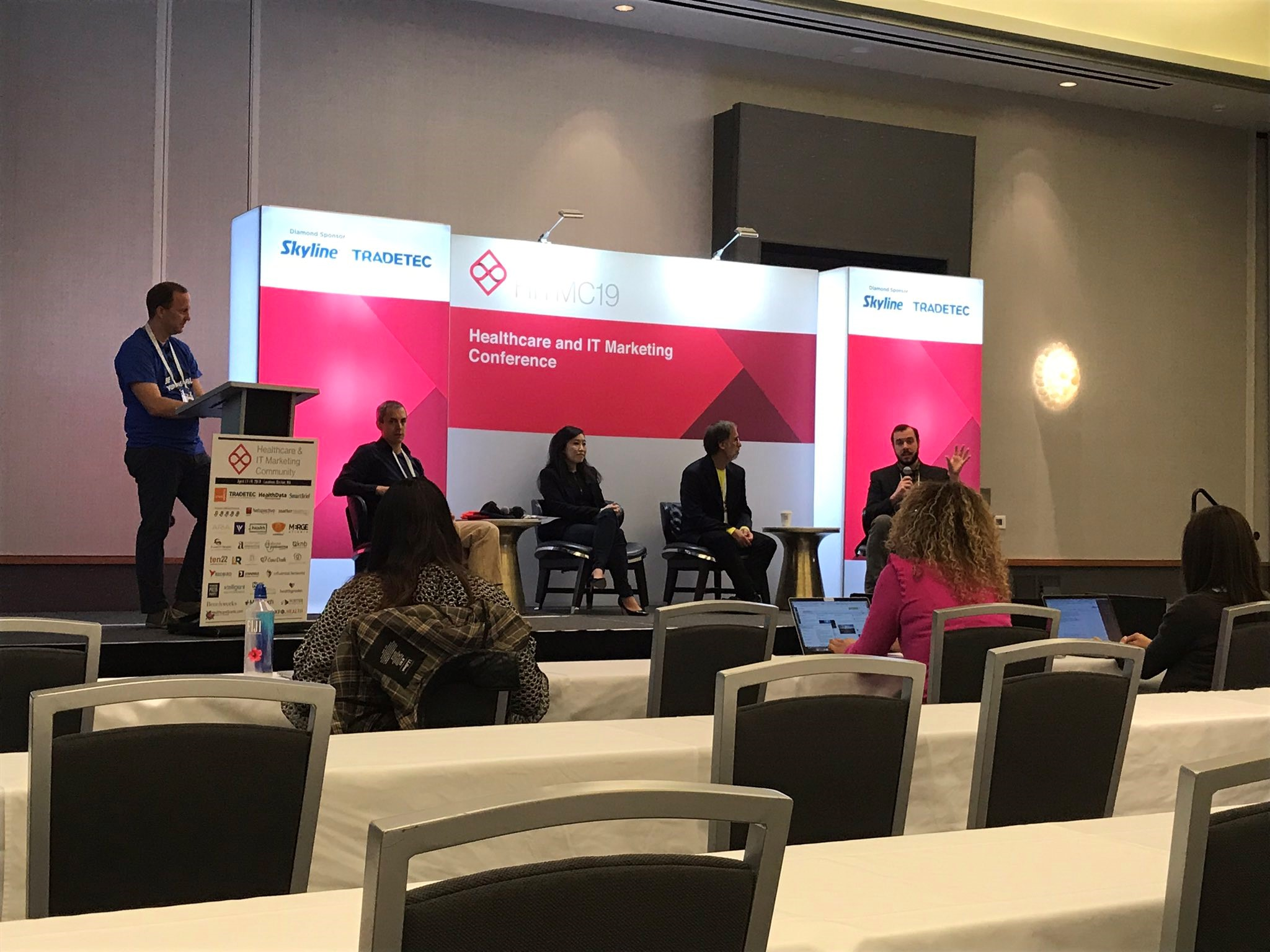 Health IT Media Panel at #HITMC 2019: John Lynn (moderator), Brian Eastwood, Jennifer Joe, MD, Fred Bazzoli, Jack Murtha