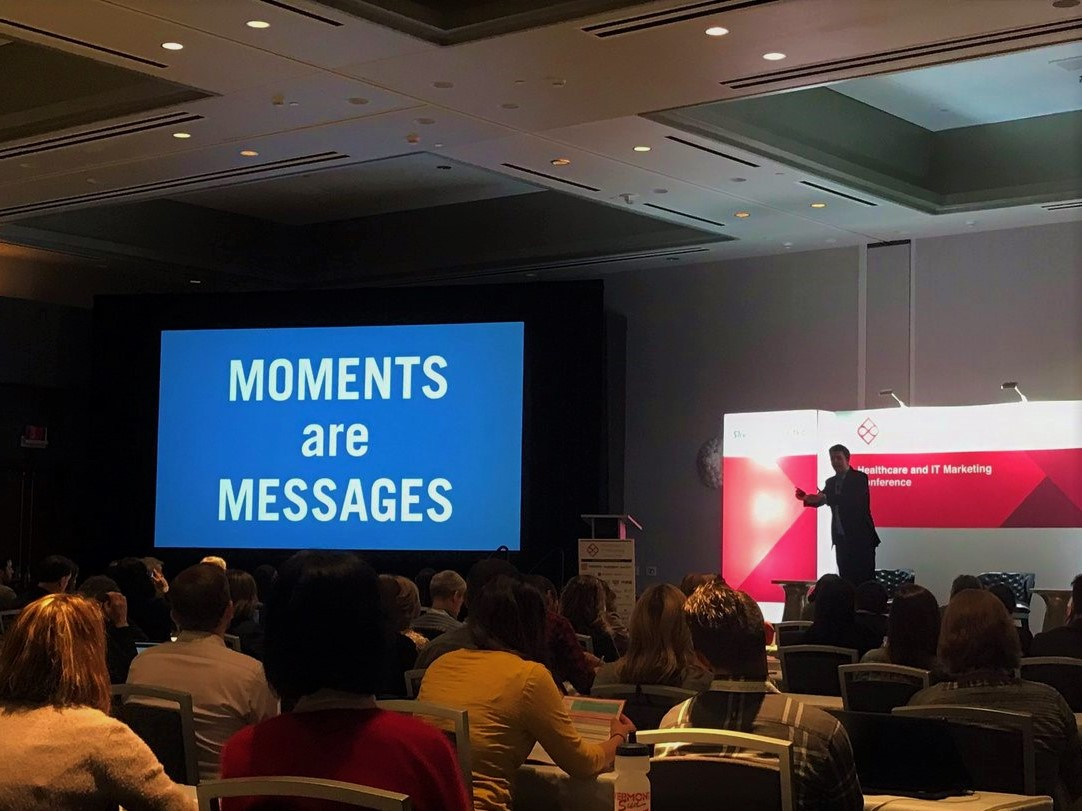 "Dan Heath keynote at #HITMC 2019 on ""The Power of Moments"""