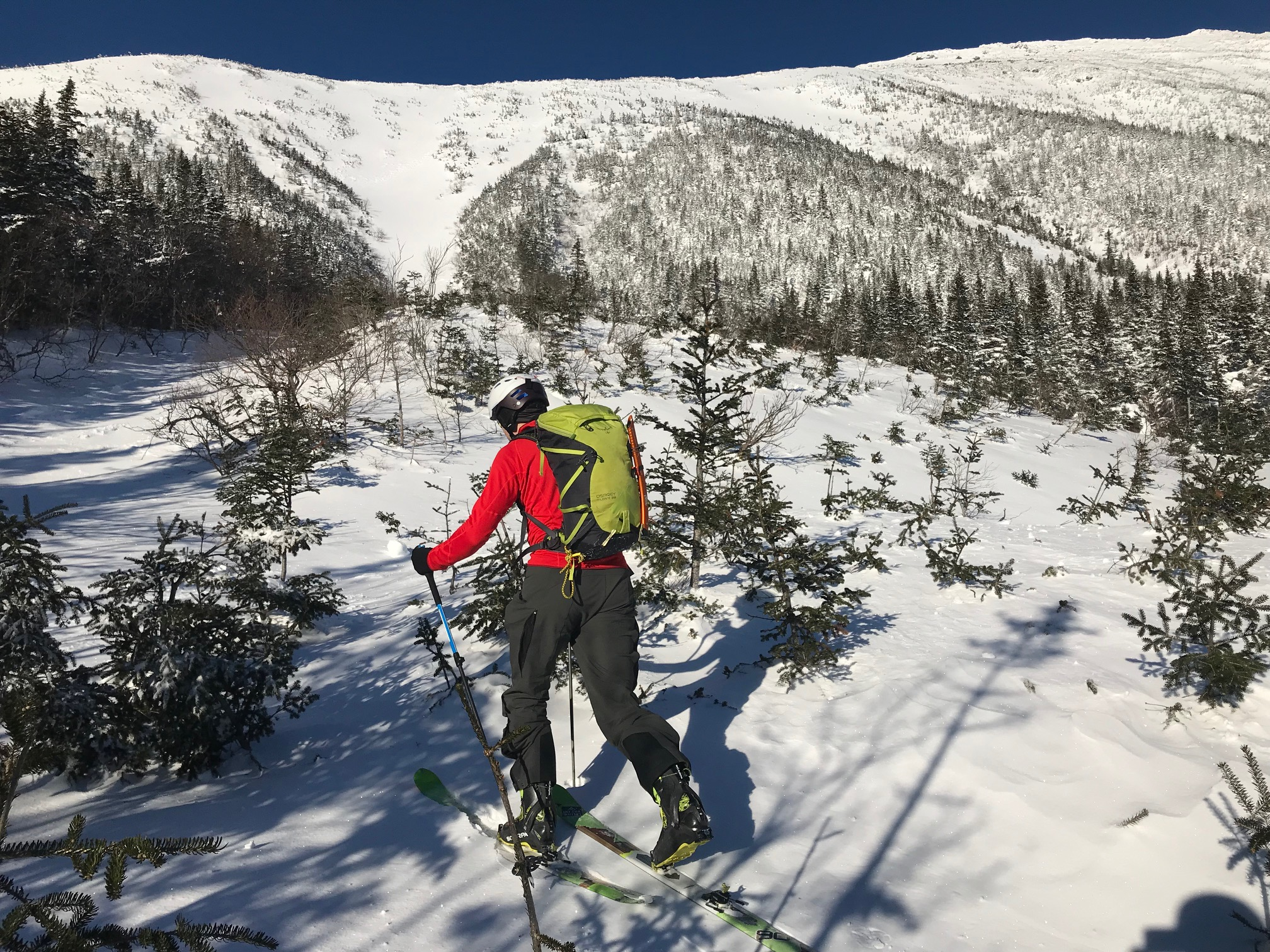 The Salomon MTN Carbon S3 poles at work in Gulf of Slides, Mount Washington