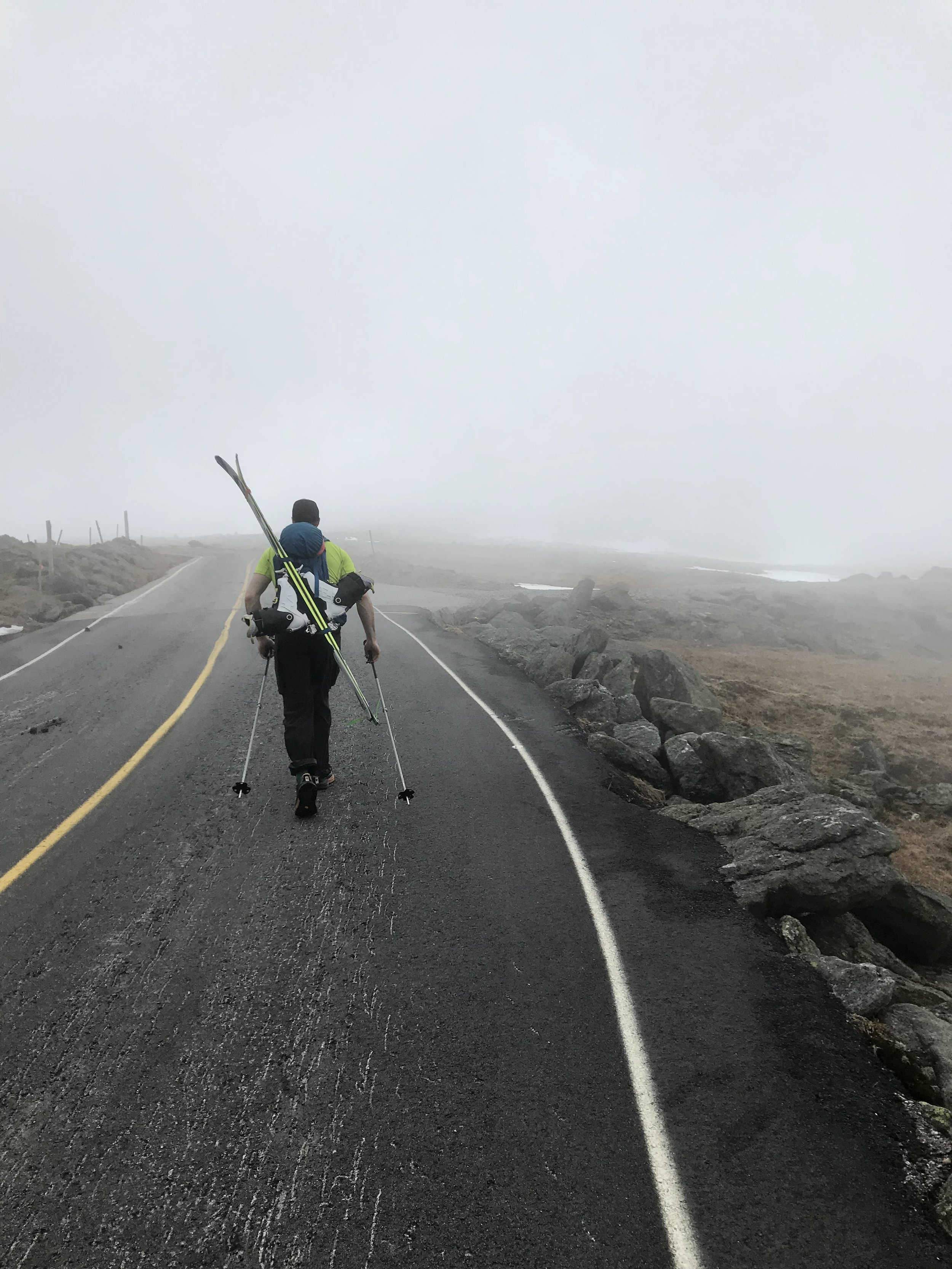 Skis on the auto road