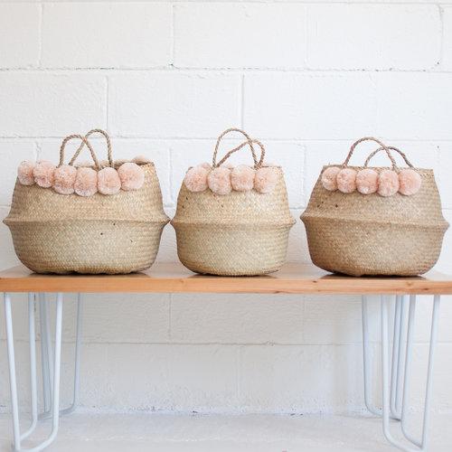 Xinh & Co Woven Seagrass Pom Pom Basket