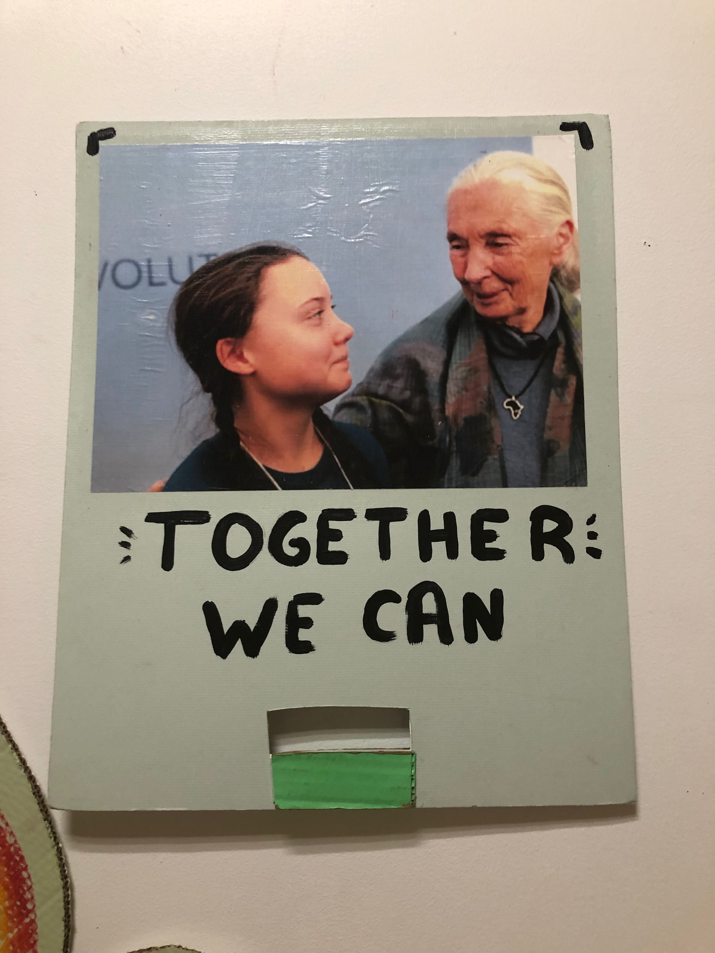 A sign featuring Greta Thunberg and Jane Goodall, made by United to End Racism