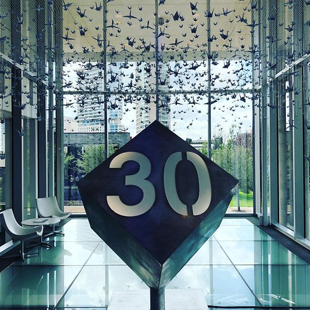 Happy 30th anniversary to our friends @harwoodintl We created a special sculpture to commemorate the occasion using aluminum, acrylic and led lights to illuminate the piece. Our very first project was with Harwood for @happiesthourdal and we are forever grateful for their support as we continue to grow.