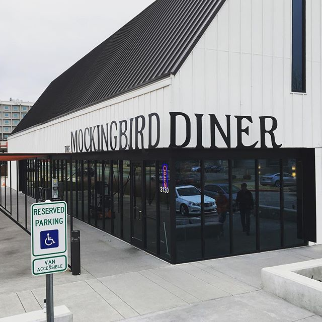Aluminum signage for mockingbird diner installed.
