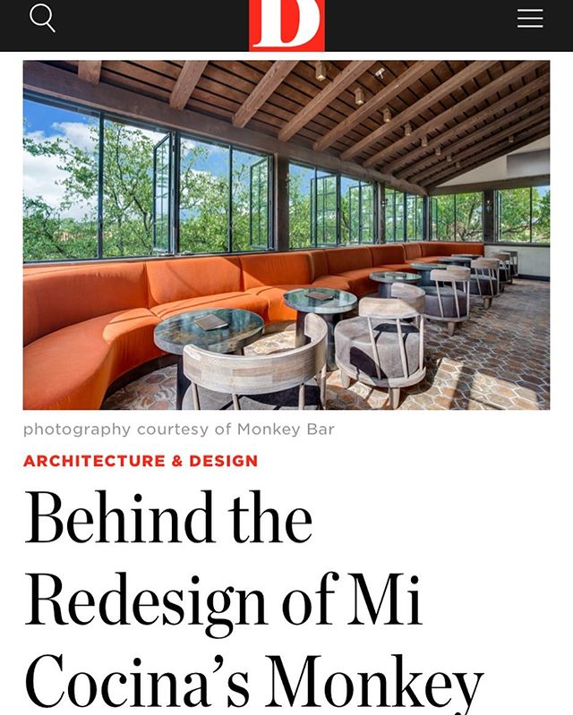Thank you for the shout out @d_magazine We appreciate the opportunity to collaborate with the @droeseraney crew and can't wait to see the team's vision come to life in the new Monkey Bar in @hp_village - Link in bio