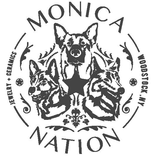 Monica Nation Logo with dog heads, Woodstock, NY, Jewelry and ceramics