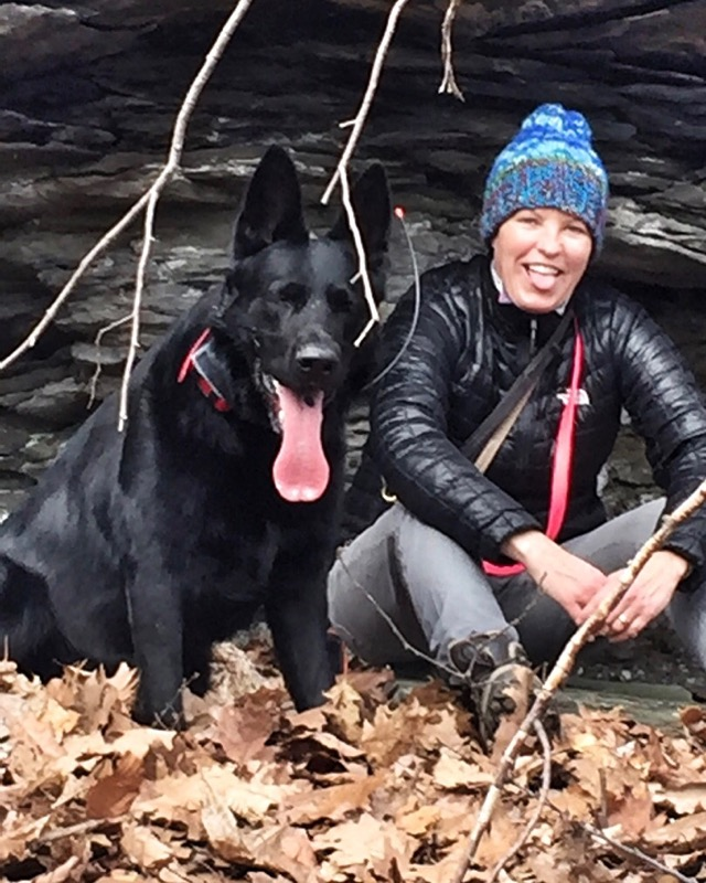 Monica Nation with her dog in Woodstock, NY