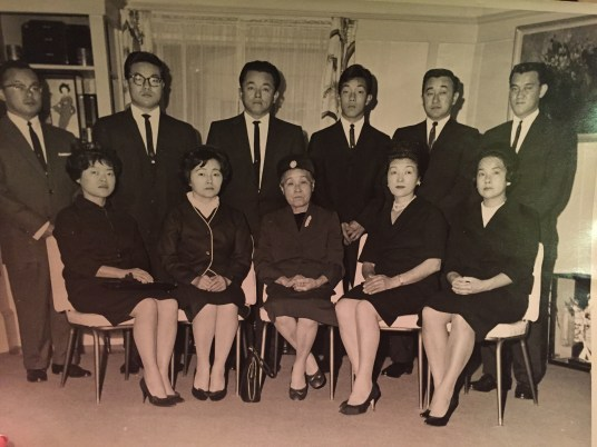 Sandy [far right, back row] and his siblings: Toshie, Takashi, Yoshie, Tom, George, Ida, Fred Lillian and Gary and their mother Fusayo, at their father's funeral.